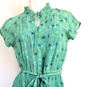 LC Lauren Conrad Dresses - Lauren Conrad Size 8 Green Belted Dress Palm Trees